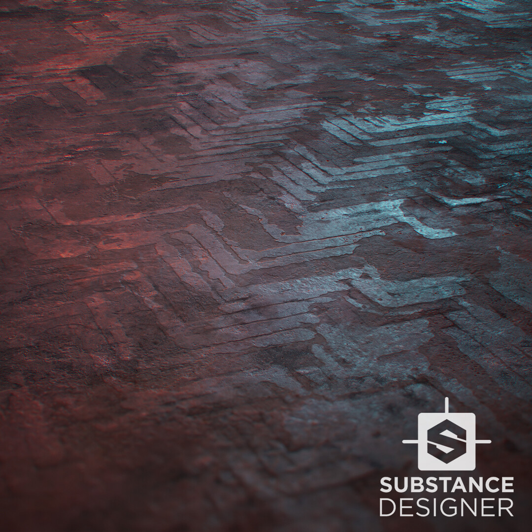 Removed Parquet Concrete Floor / Substance Designer