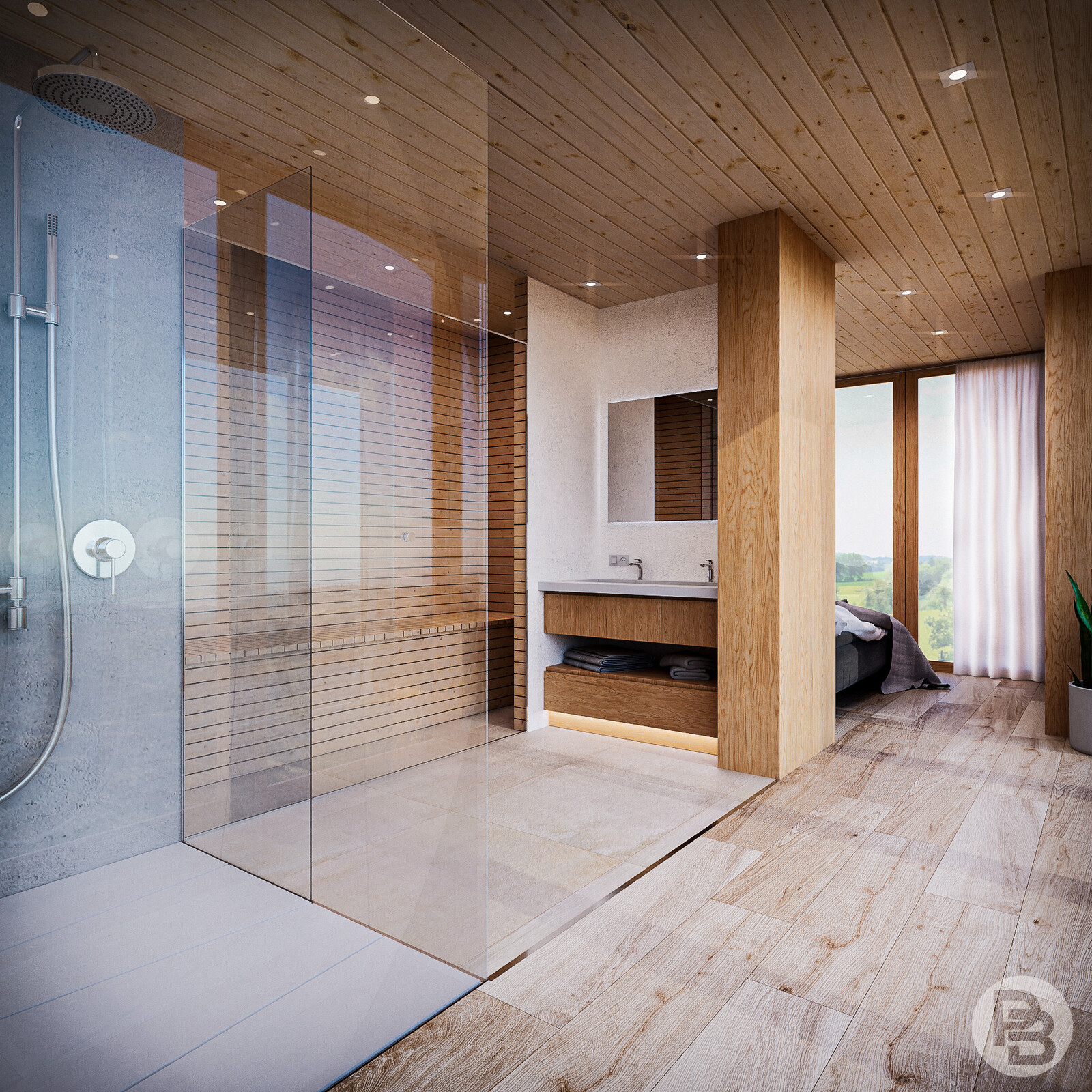 Bathroom with sauna