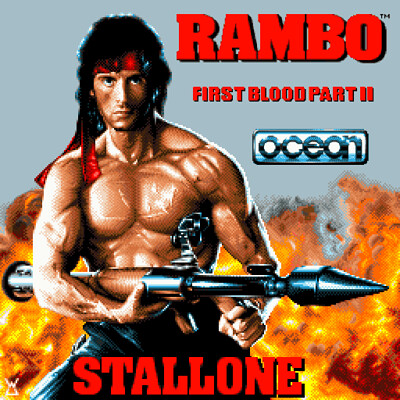 Rambo First Blood Part II Spectrum loading screen revamp Pixel Art