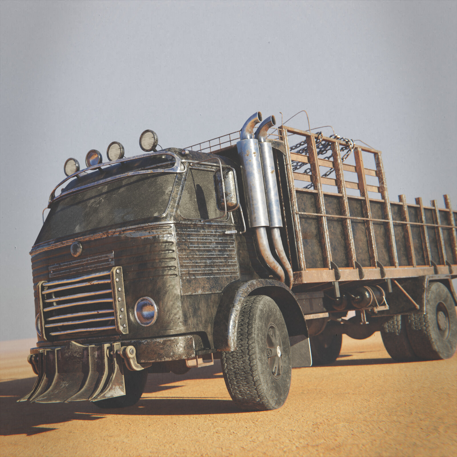 Post apocalyptic old Pegaso truck