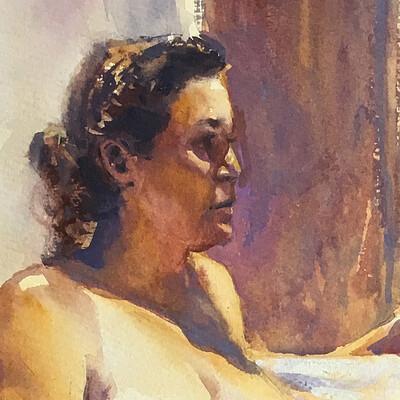 Long Pose Life Drawing Watercolour Painting of Virginia