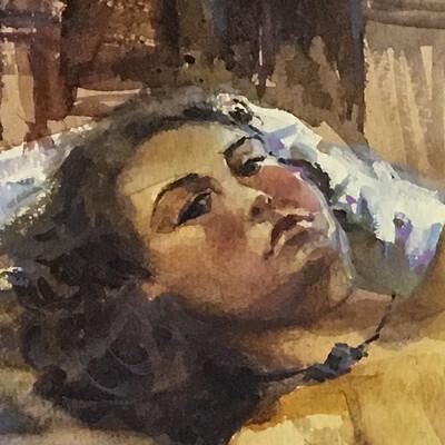 Long Pose Life Drawing Watercolour Painting of Marika #03