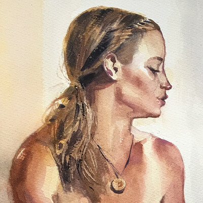 Long Pose Life Drawing Watercolour Painting of Jess #1