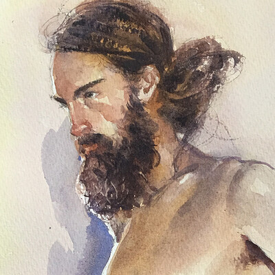 Long Pose Life Drawing Watercolour Painting of Jesse #3