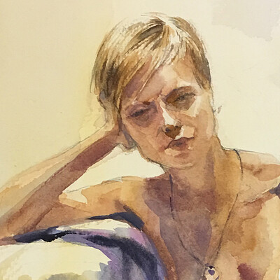 Long Pose Life Drawing Watercolour Painting of Jess #2
