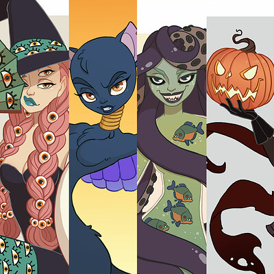 Jessica madorran character design drawlloween halloween group 01 2019 artstation