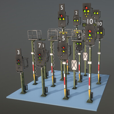 Dennis haupt railway signals ks type construction set modeled and textured by 3dhaupt dennish2010 in blender 2 8 10