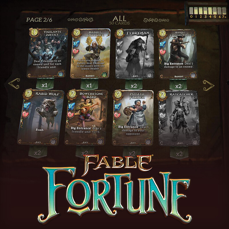 Fable Fortune Deck Building UI