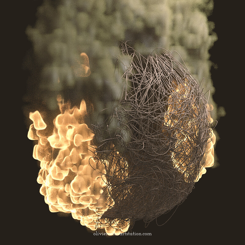 Burning Man Style Cocoon (x-particles animation)