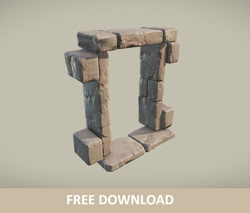 Free download - Ancient Window / Door Frame (PBR)