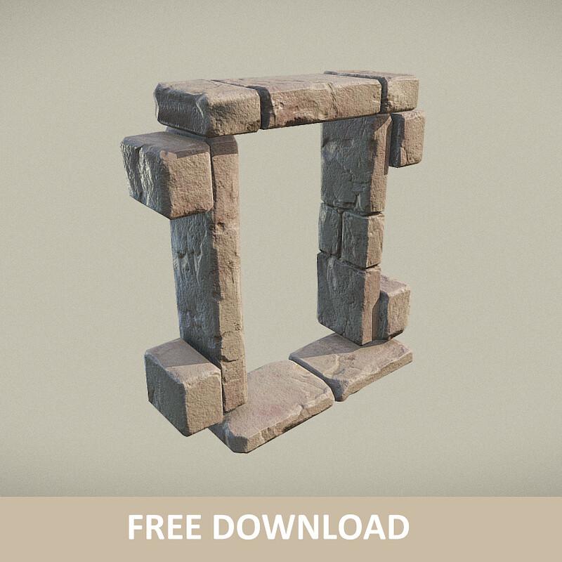 Free download - Ancient Window / Door Frame (PBR)