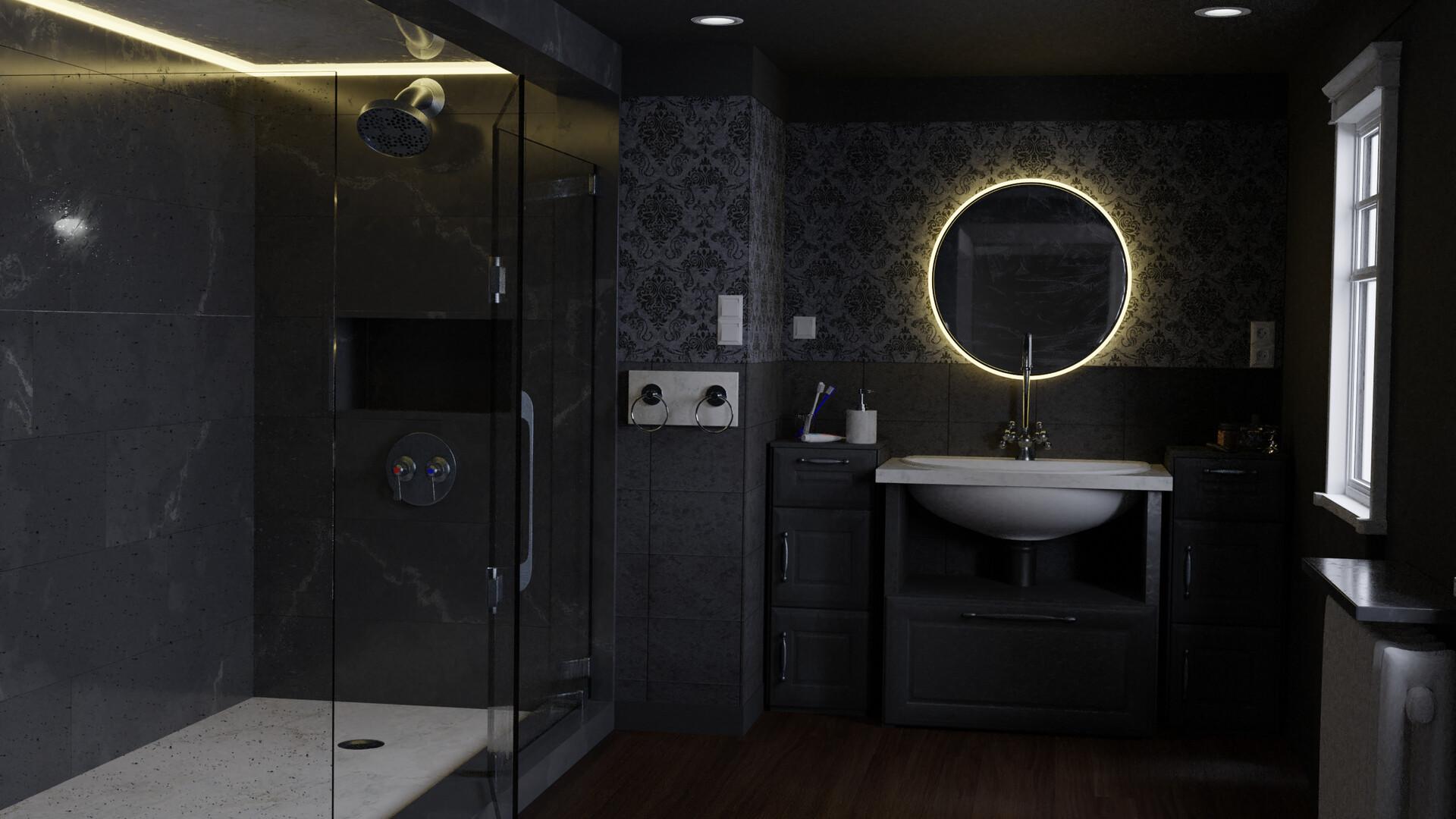 Artstation Dark Bathroom Interior Fedor Cervenka