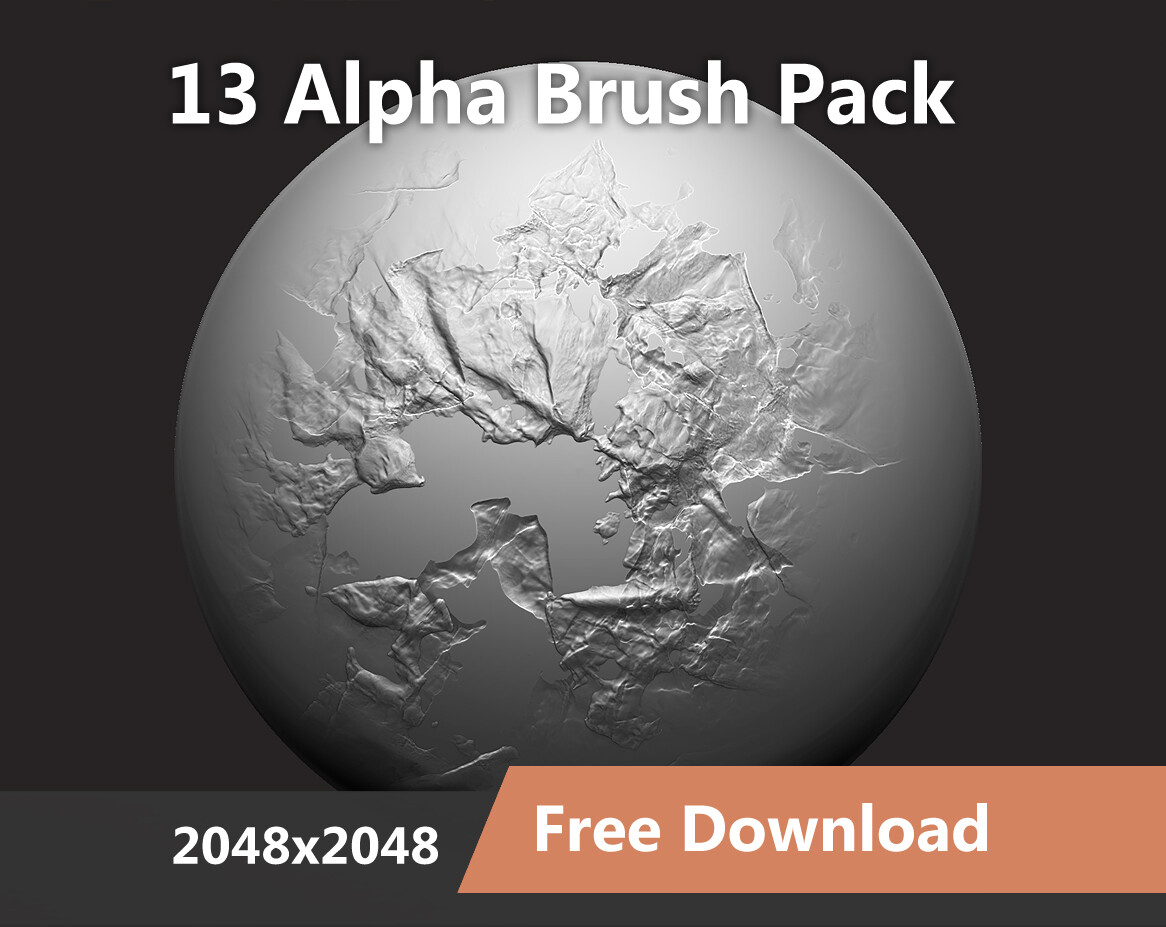 13 Alpha Brushes - Zbrush / Blender (2048 x 2048)