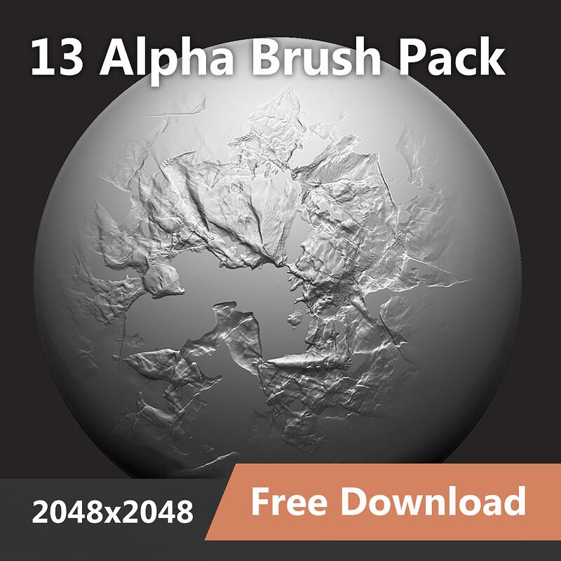 13 Alpha Brushes - Zbrush / Blender (2048 x 2048)