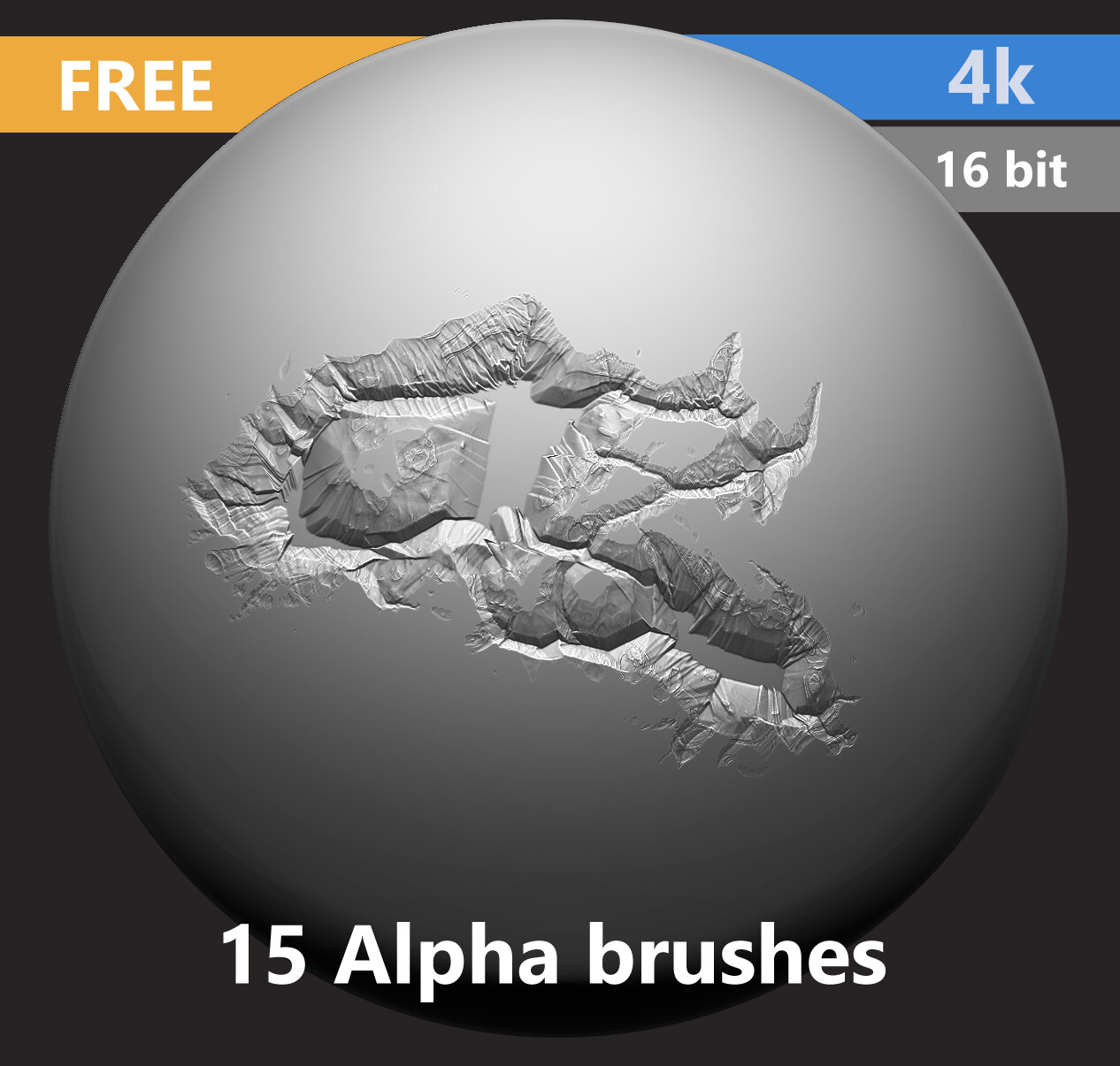 Free 15 Alpha Brushes (4k resolution, 16 bit) - Cracks, Rock damage etc.