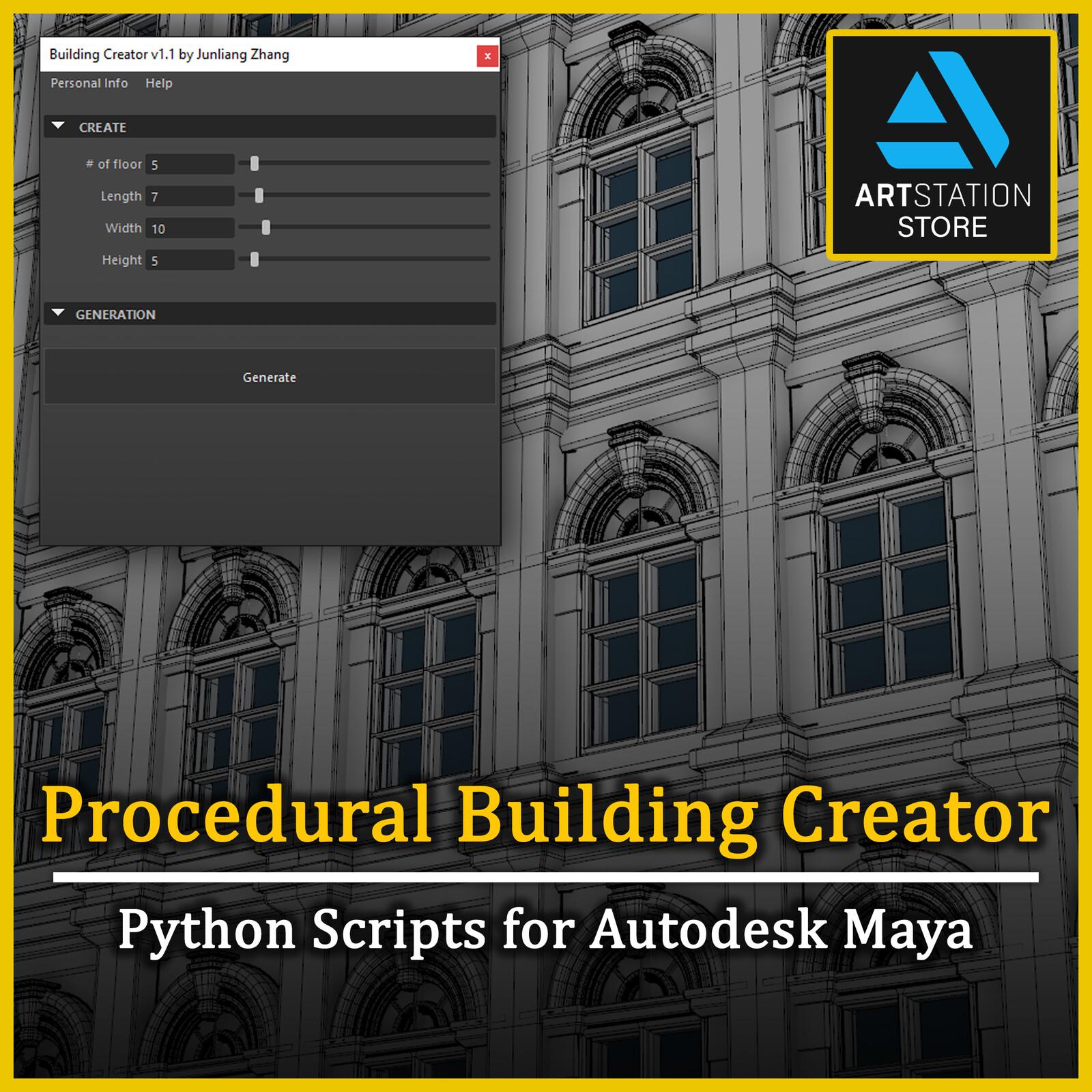Maya Python - Procedural Building Creator v1.1