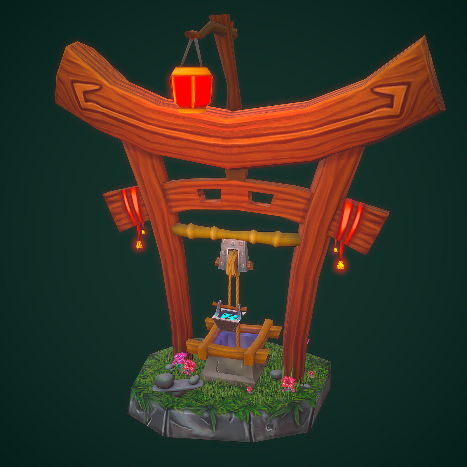 Handpainted zen water well