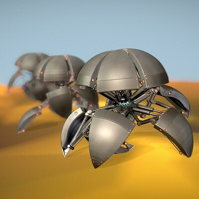 Dennis haupt 3dhaupt sphere bots run cycle test on rough terrain modeled textured rigged and animated in blender 2 81a 1