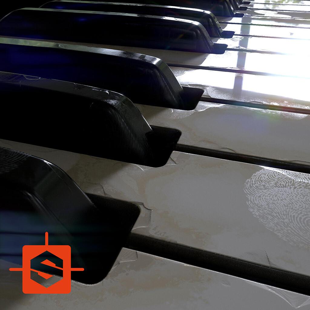 piano keys material - 100% Substance Designer