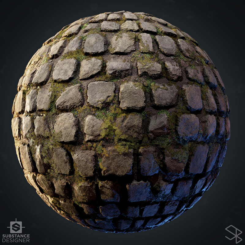 Mossy Stone Path - Substance Designer
