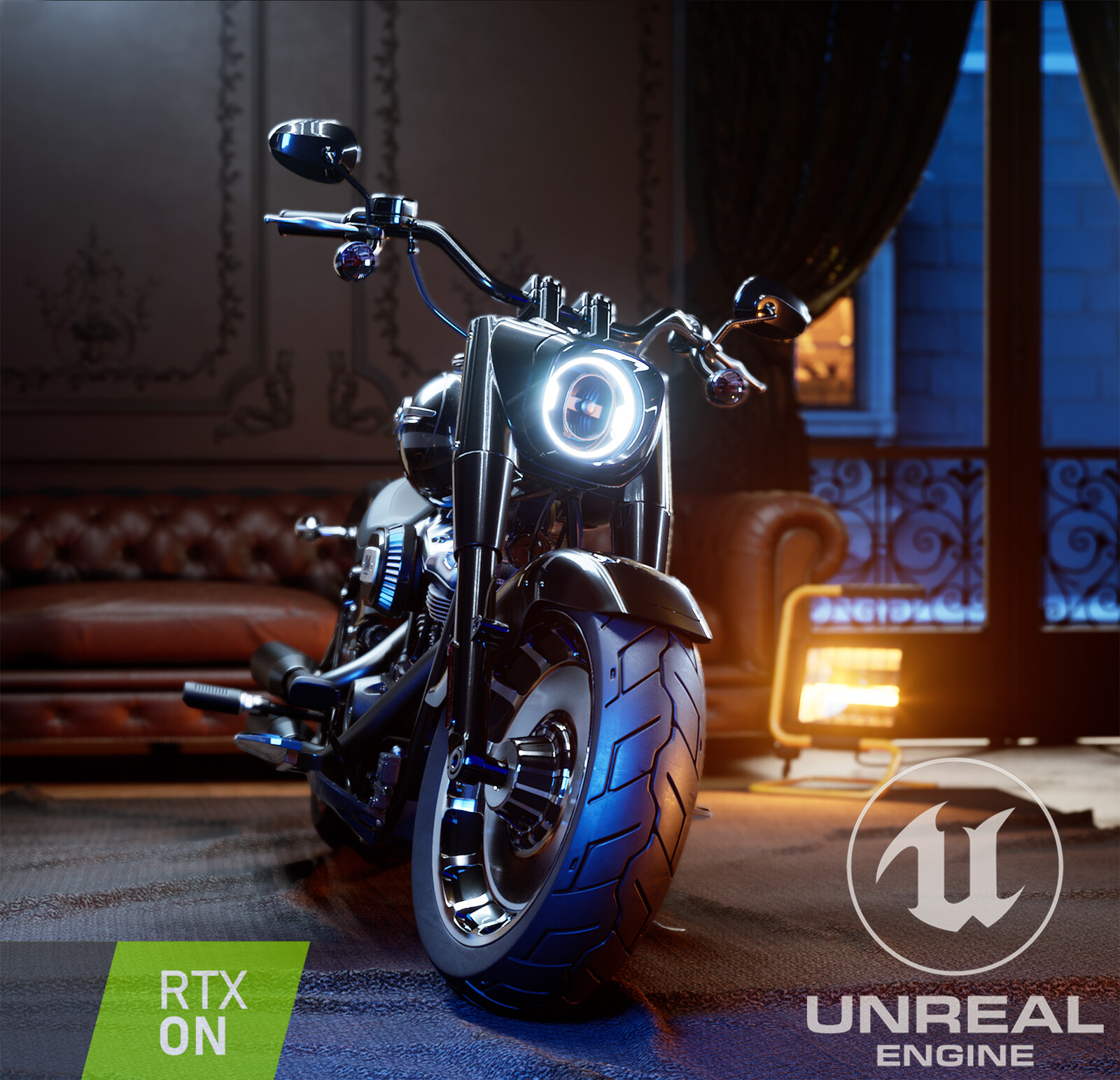"UE4 - Harley ""Fat Boy"" Davidson rendered with RAYTRACING"