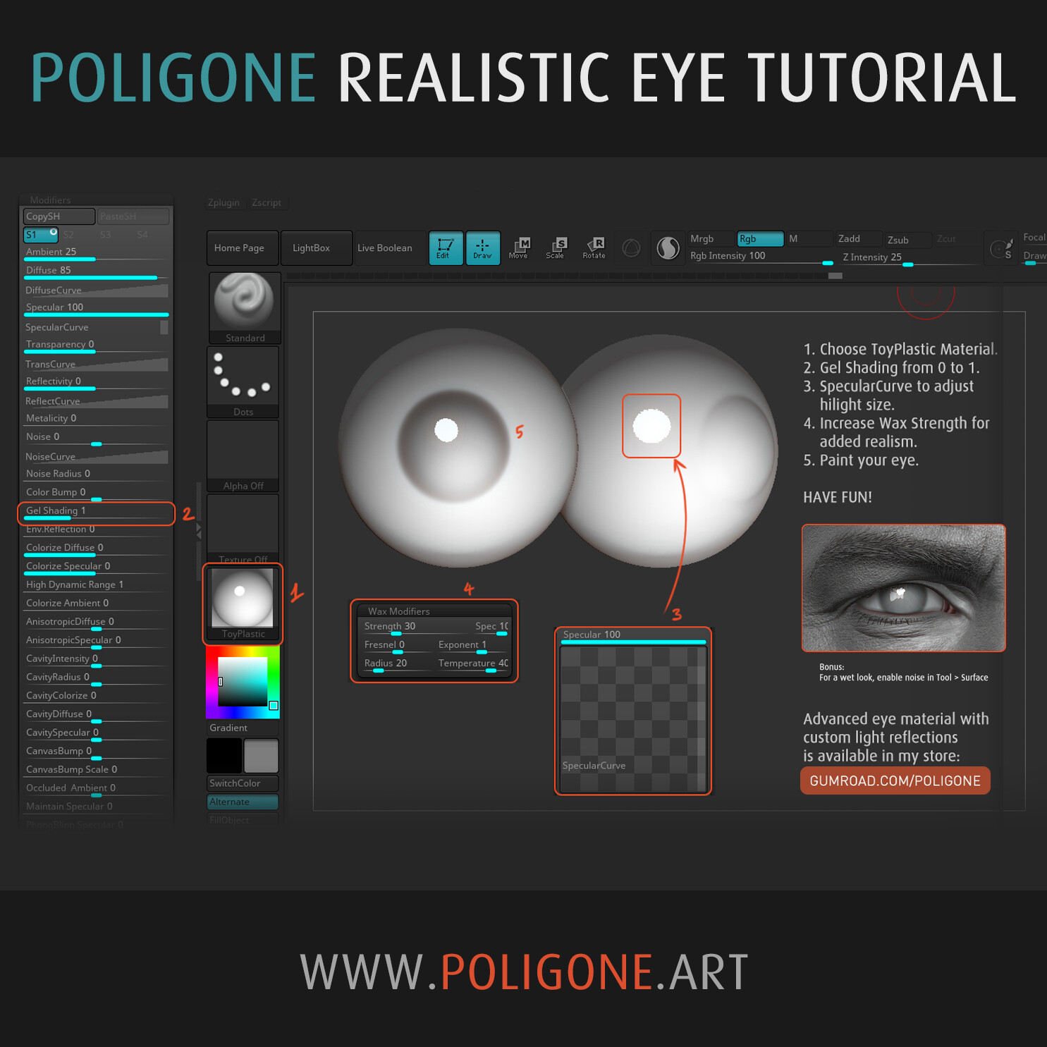 Realistic Eye Material Tutorial (ZBrush)