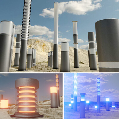 Dennis haupt light columns basic modeled and textured by 3dhaupt in blender 2 82a