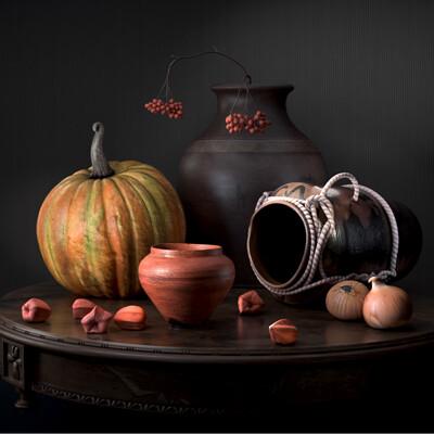 Still Life - Vase and Vegetables