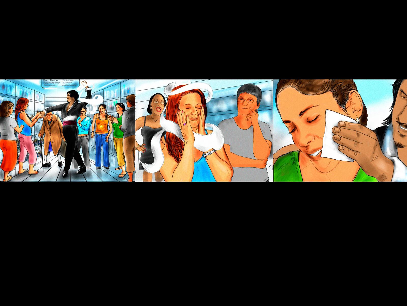 A Latin Dancer. 3 Story board frames.
