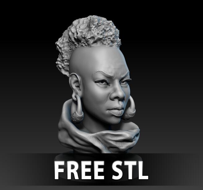 Woman head study - Free STL