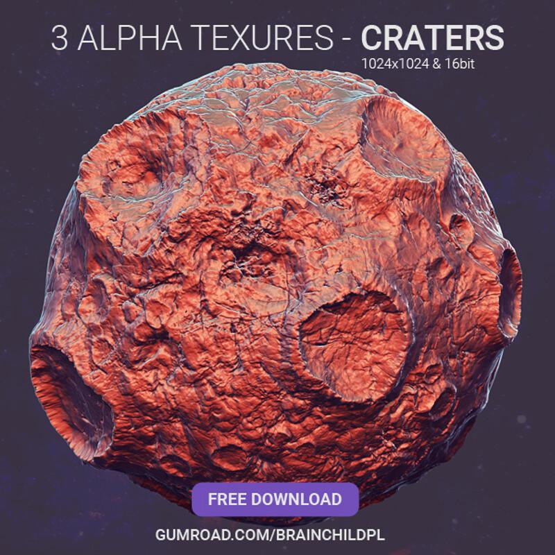 3 Crater Alpha Textures - Zbrush / Blender / Substance (1024x1024)
