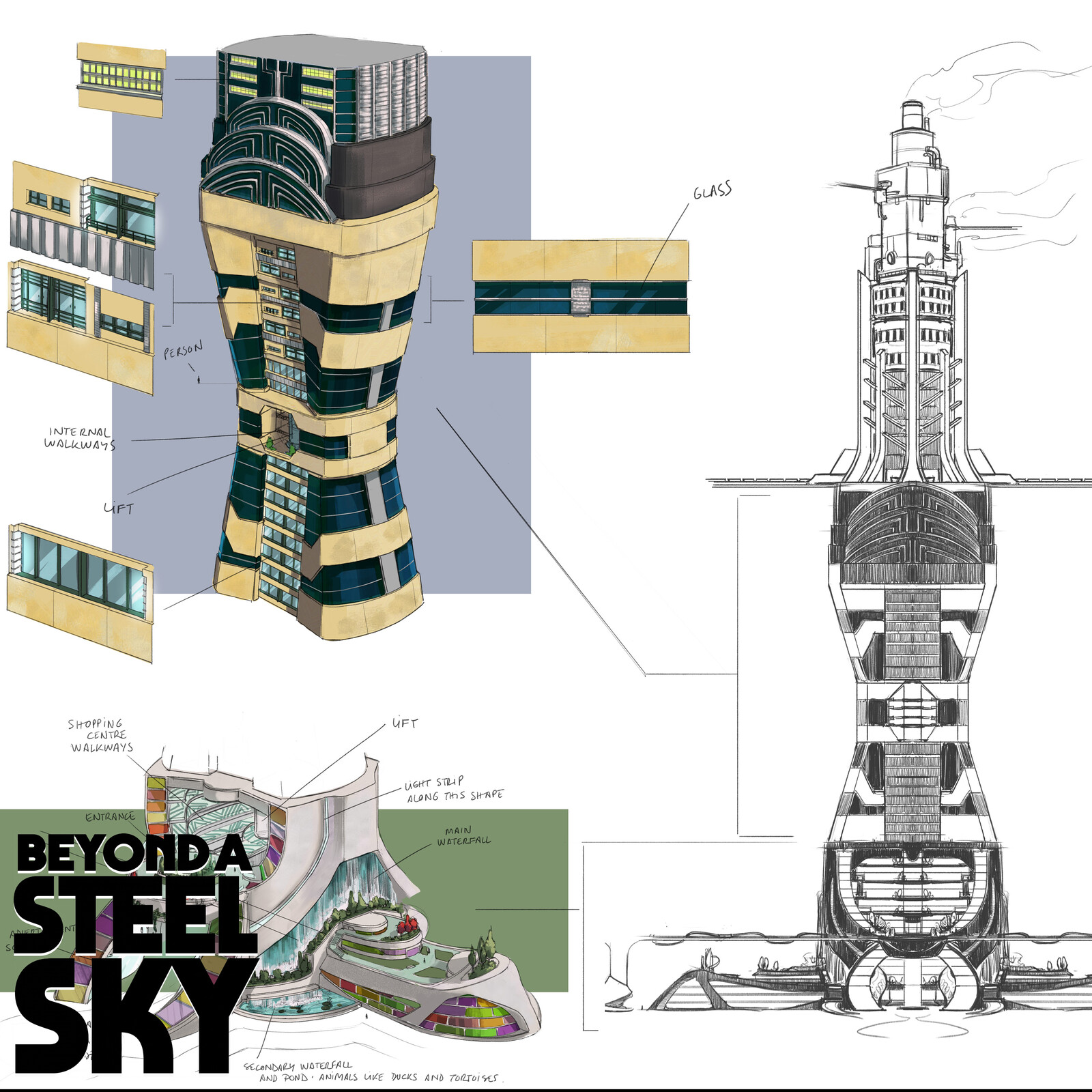 BEYOND A STEEL SKY: Union City Towers and paths_01