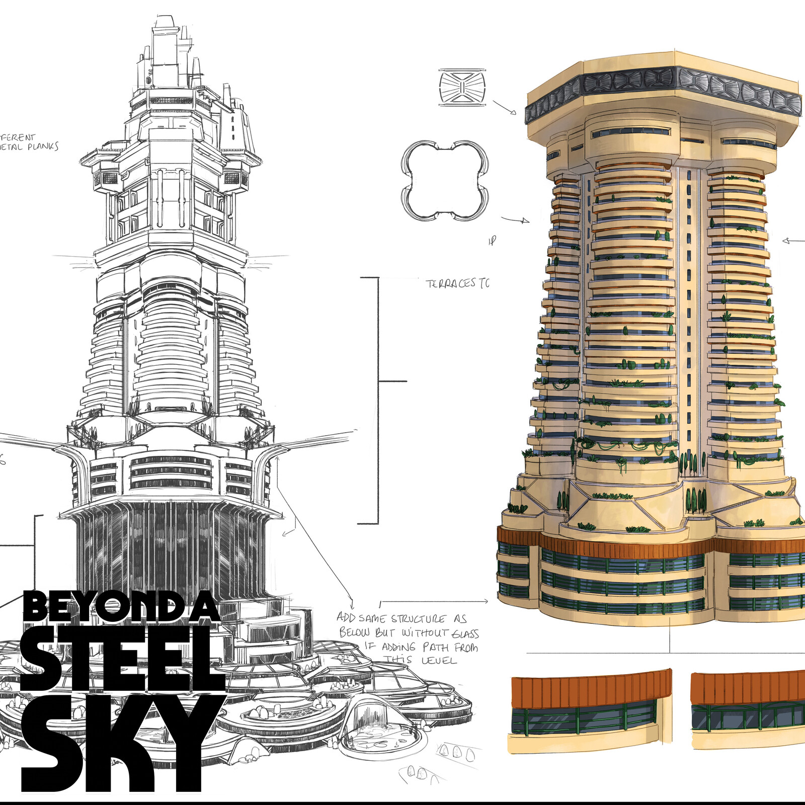BEYOND A STEEL SKY: Union City Towers and paths_05