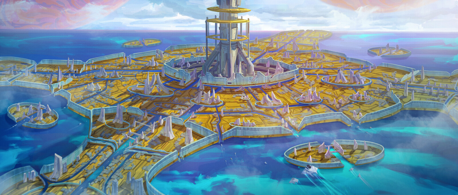 Ocean World with Space Elevator
