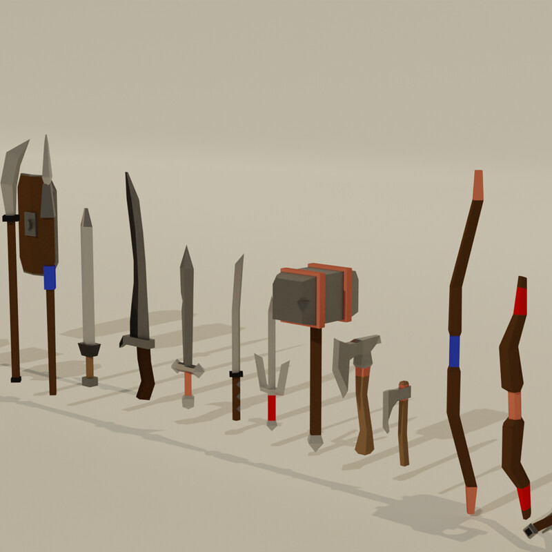Medieval Low Poly Weapons - Pack - GameReady