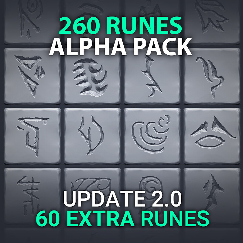 UPDATE 2.0 | VOL.1 – 260 Runes/Symbols/Signs/Shapes (520 Alpha Textures)