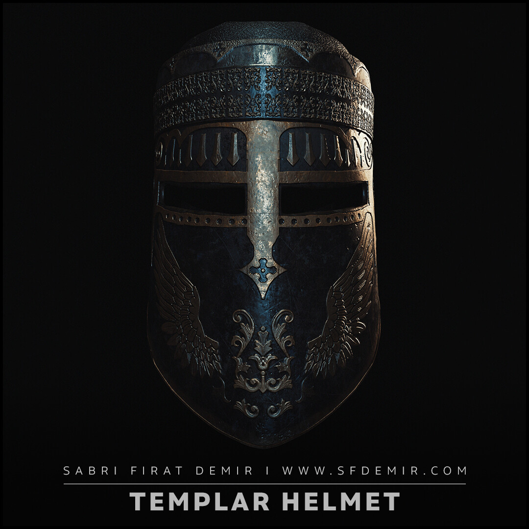 Templar Helmet PBR  Low Polygon 3D Model