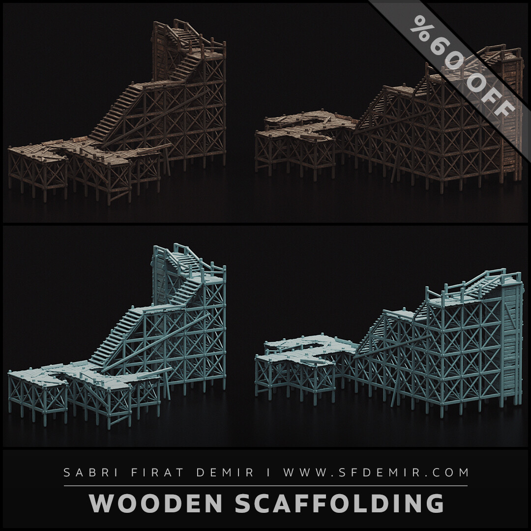 Medieval Wooden Scaffolding 3D Model