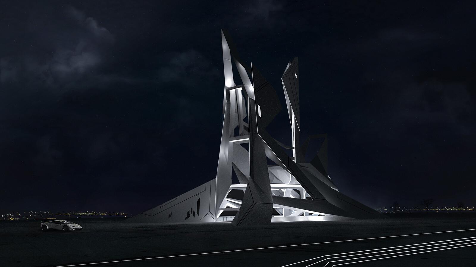 Concept Architecture (Futuristic networking center)