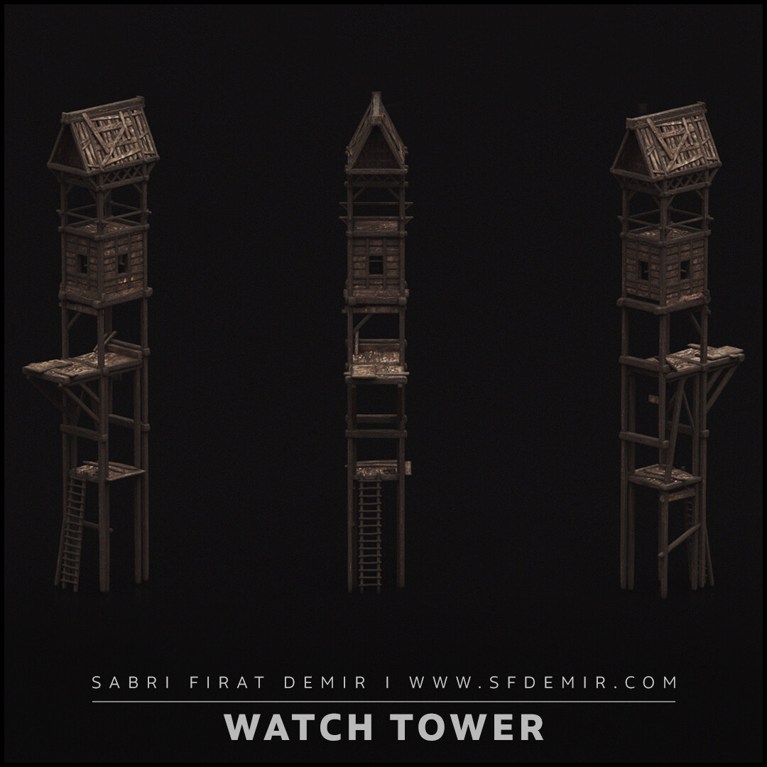 Medieval Wooden Watch Tower 3D Model