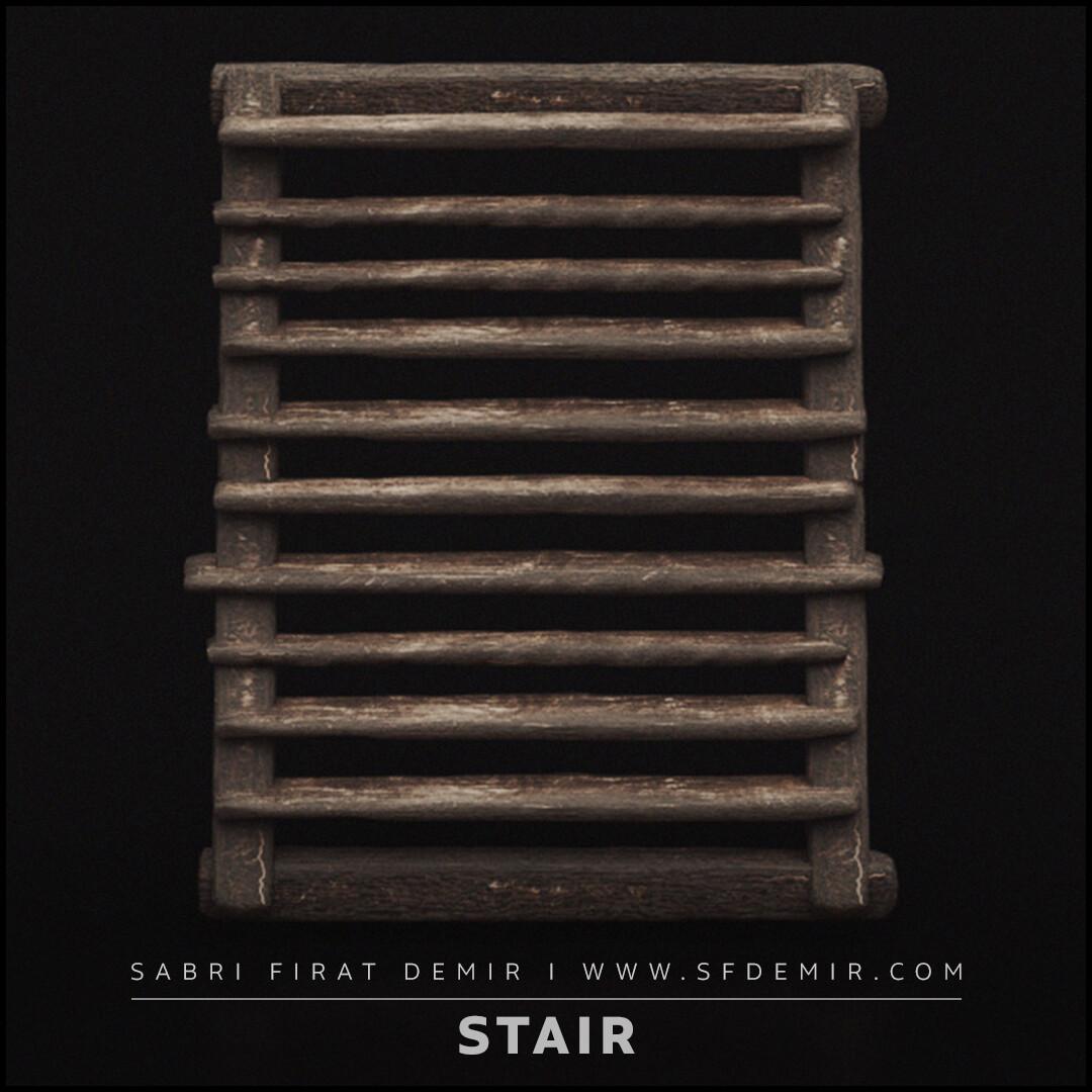 Medieval Wooden Stair 3D Model