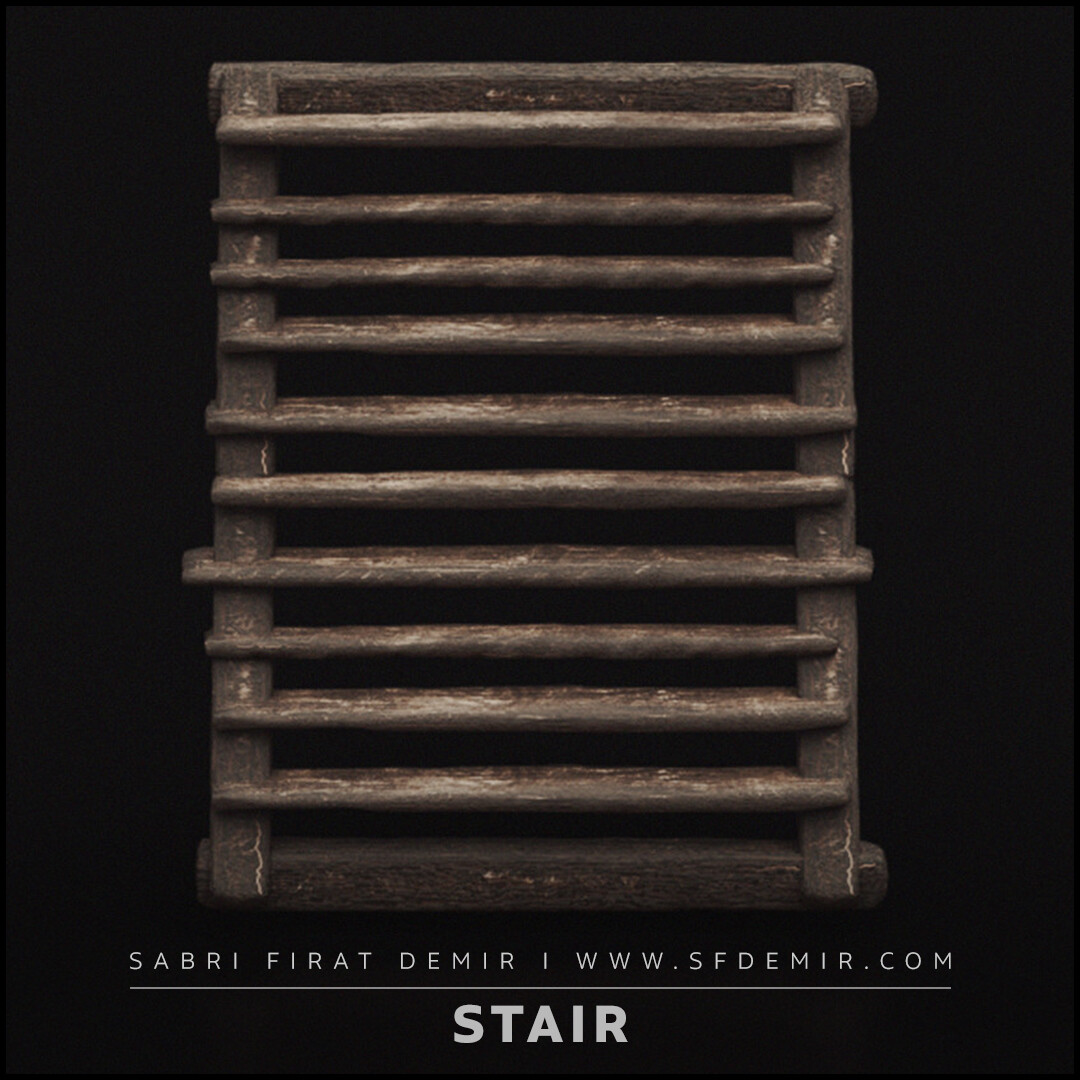 Medieval Wooden Stair 3D Model