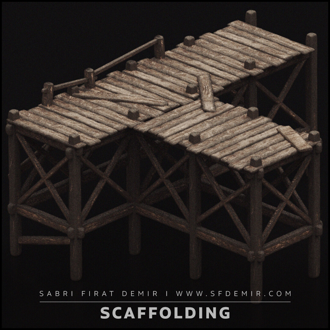 Wooden Scaffolding 3D Model