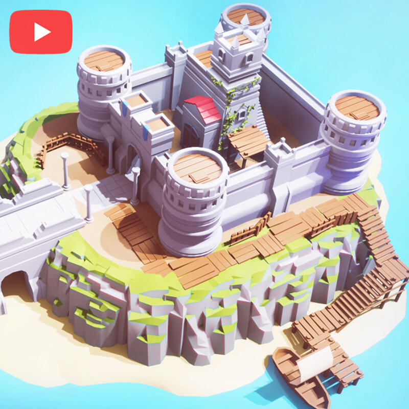 [Work in Progress] Low Poly CASTLE Blender 2.90 | Blender 2.90 to Unity | LowPoly Game Art