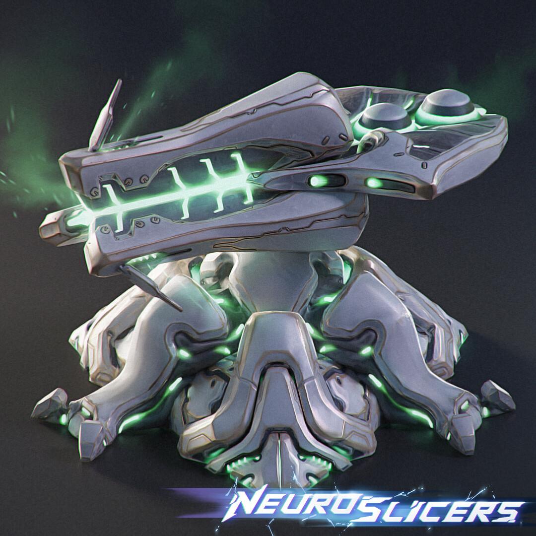 NeuroSlicers, 3d low poly buildings.