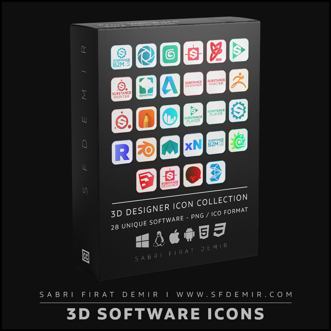 3D Designer Software Icon Collection