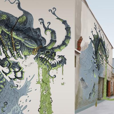 Badang Mural in a Singapore Alleyway
