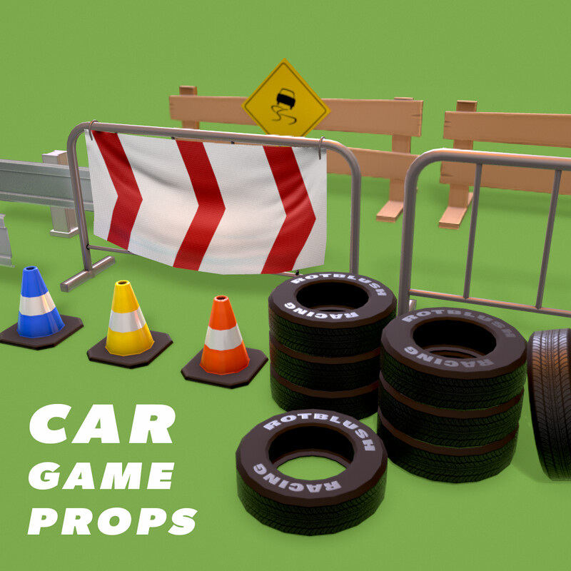 Stylized Car Game Props