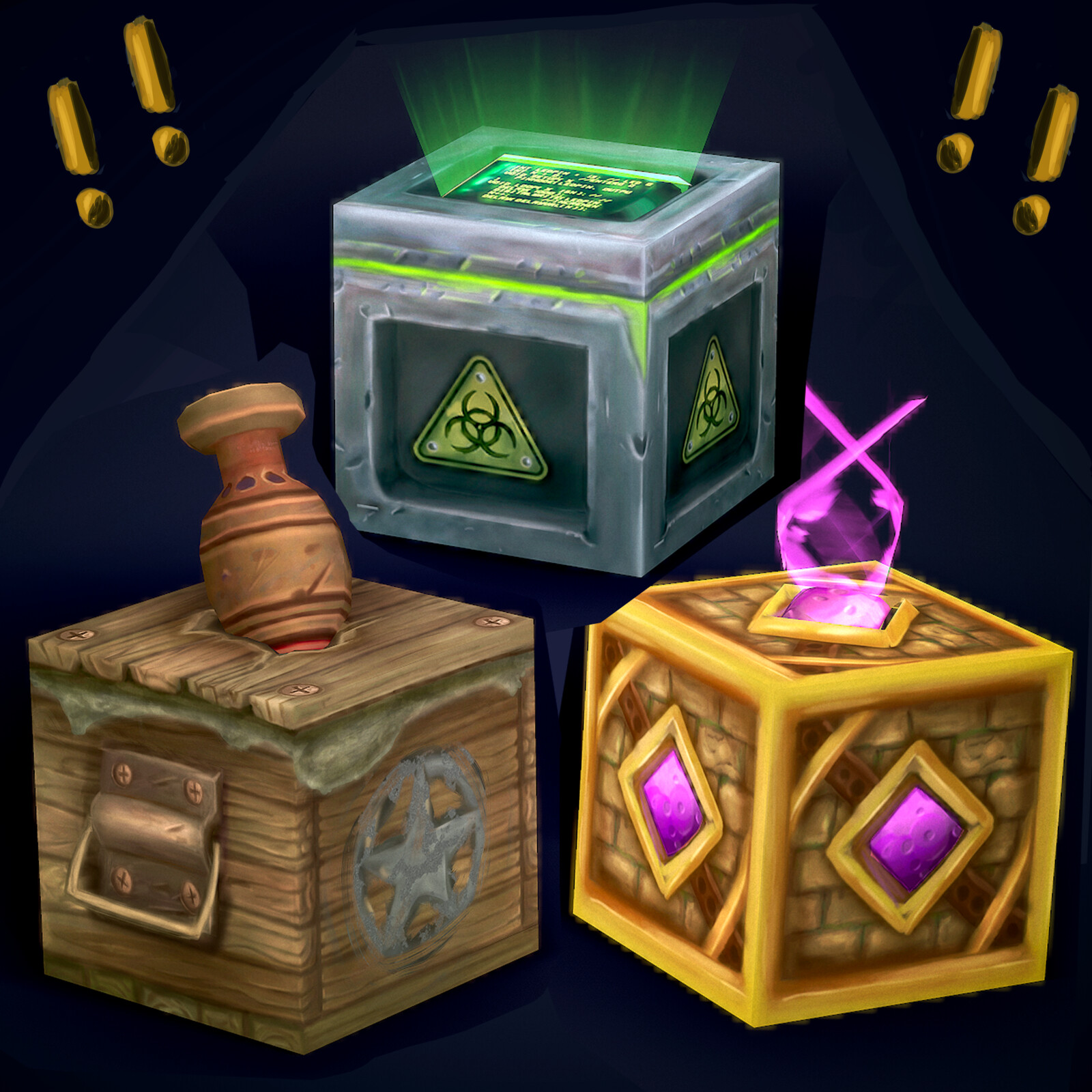 Crates - Stylized Hand Painted Cubes