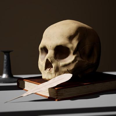 Emma arntzen emma arntzen still life with a skull and a writing quill